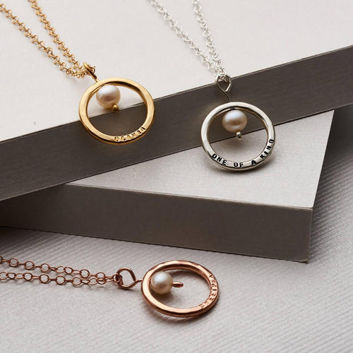 Personalised Pearl And Circle Necklace Rose Gold Plated ,[product vendor],JewelStreet