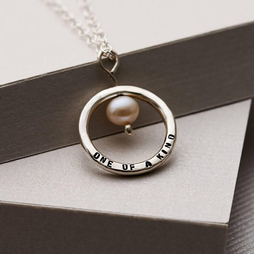 Personalised Pearl And Circle Necklace Sterling Silver ,[product vendor],JewelStreet