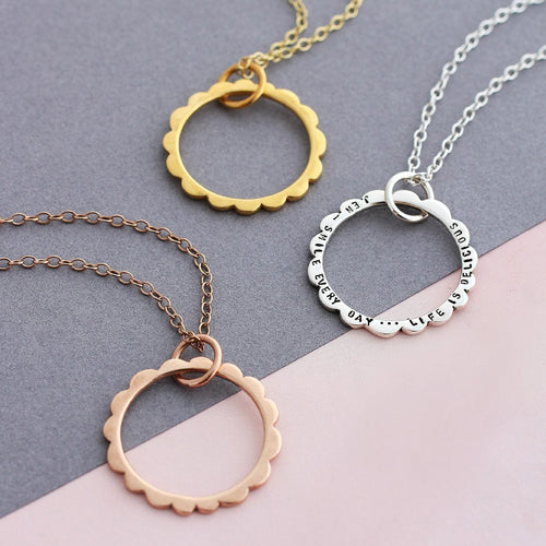 Personalised Scalloped Circle Necklace-Necklaces-Posh Totty Designs-JewelStreet