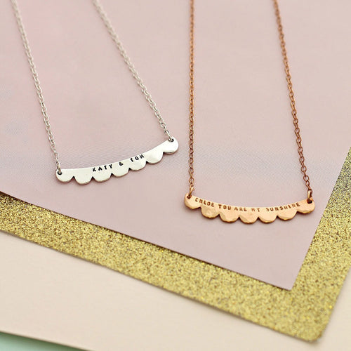 Personalised Scalloped Curve Necklace-Necklaces-Posh Totty Designs-JewelStreet