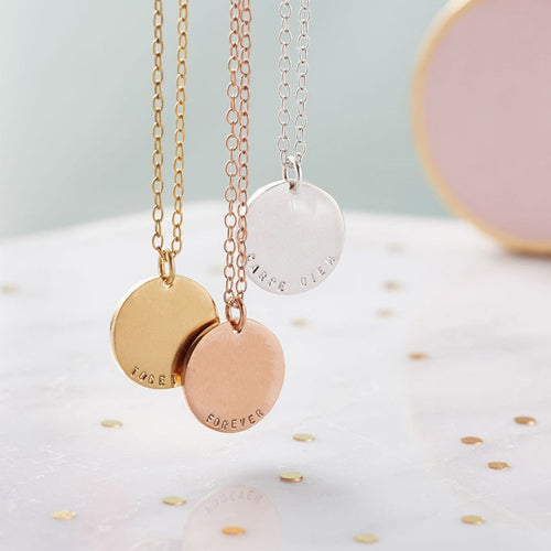 Personalised Solid Disc Necklace-Necklaces-Posh Totty Designs-JewelStreet