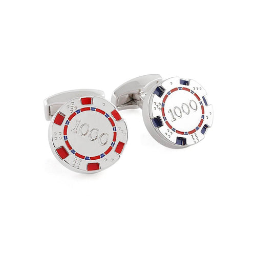 Poker Chips Cufflinks In Blue And Red ,[product vendor],JewelStreet