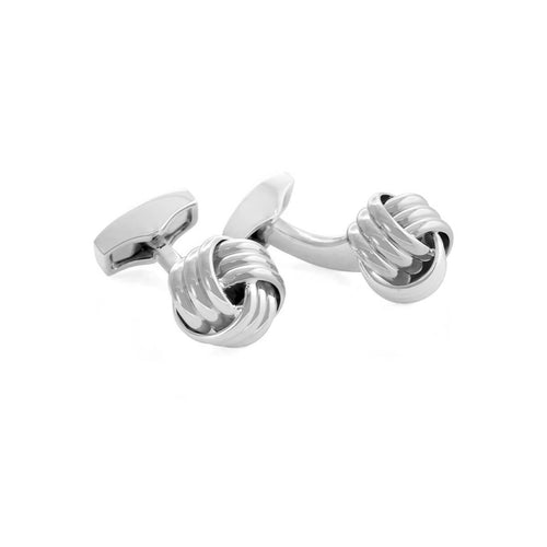 Ribbed Knot Cufflinks In Rhodium Plating ,[product vendor],JewelStreet
