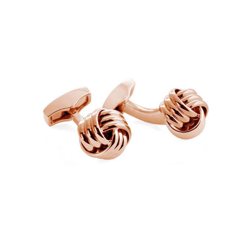 Ribbed Knot Cufflinks In Rose Gold Colour ,[product vendor],JewelStreet