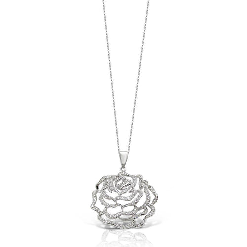 Rose Large Pendant White Rhodium Finish With CZ ,[product vendor],JewelStreet