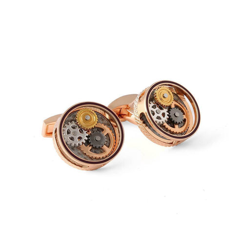 Round Gear Carbon Fibre Cufflinks In Rose Gold Plating ,[product vendor],JewelStreet