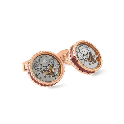 Round Skeleton Gear Cufflinks - Rose Gold & Burgundy ,[product vendor],JewelStreet