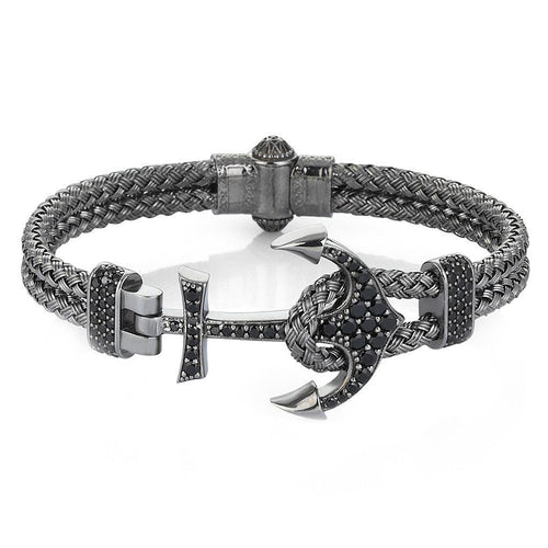 Silver & Gun Metal Plated Anchor Bracelet ,[product vendor],JewelStreet