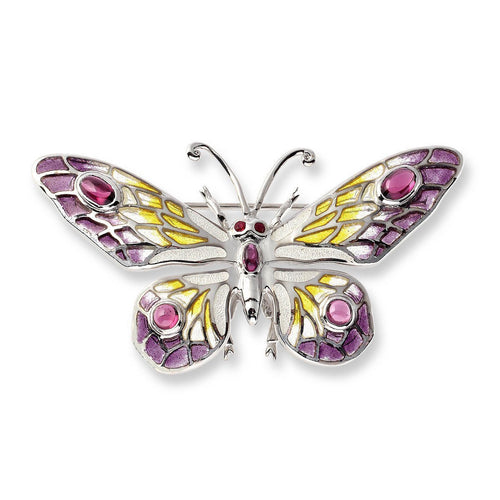 Silver Butterfly Ruby and Rhodolite Brooch-Brooches-Nicole Barr-JewelStreet