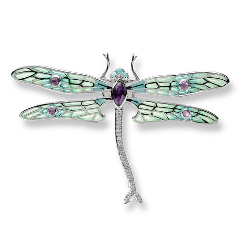 Silver Dragonfly Green Brooch-Brooches-Nicole Barr-JewelStreet