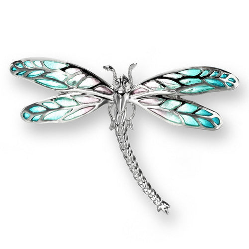 Silver Dragonfly Turquoise Brooch-Brooches-Nicole Barr-JewelStreet