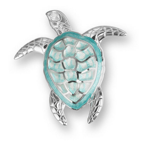 Silver Sea Turtle Green Brooch-Brooches-Nicole Barr-JewelStreet