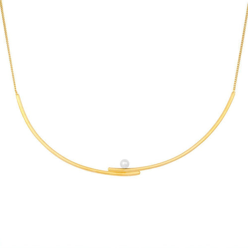 Solo Mouj Necklace-Gold and White Pearl-Necklaces-Pargo Jewelry-JewelStreet
