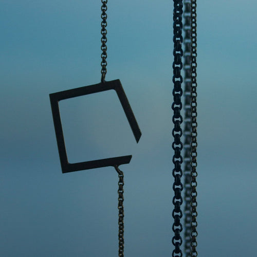 Square Oxidised Necklace Small ,[product vendor],JewelStreet