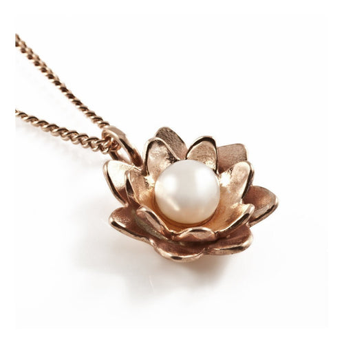 Lotus Pearl Pendant Rose Gold-Necklaces-Vicky Davies-JewelStreet