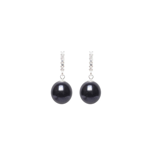 Euclid Pearl Earrings - Black-Earrings-ORA Pearls-JewelStreet
