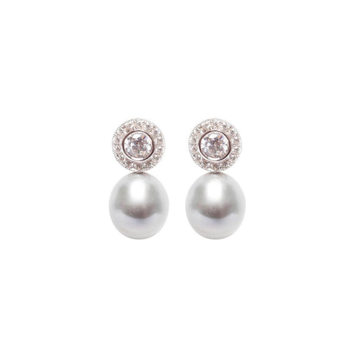 Halo Pearl Earrings - Grey-Earrings-ORA Pearls-JewelStreet