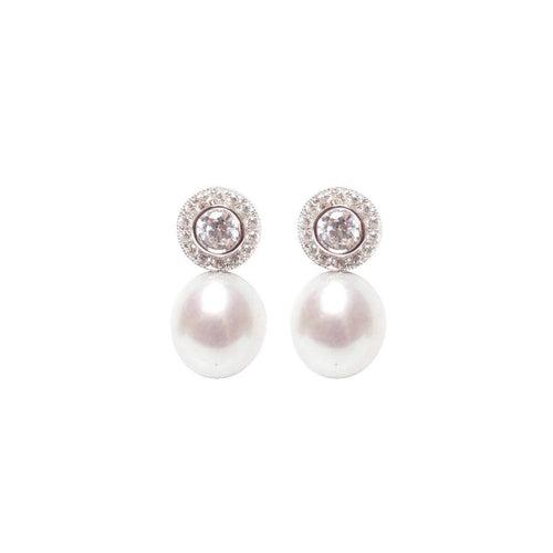 Halo Pearl Earrings-Earrings-ORA Pearls-JewelStreet