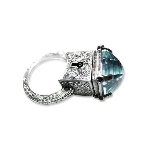 Topaz Locket Ring , Silver ,[product vendor],JewelStreet