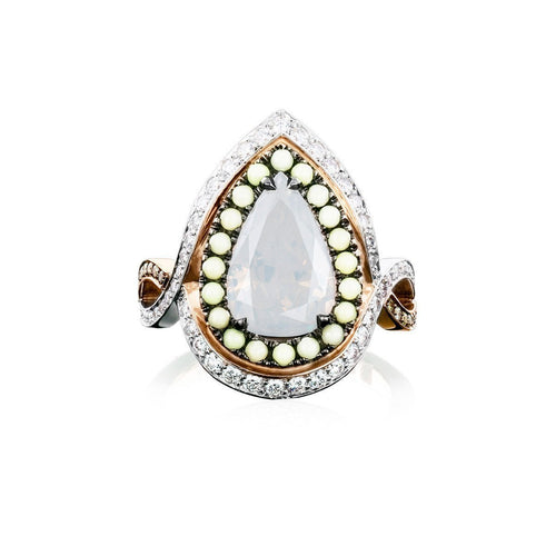 Twilight Entourage Ring With White Pear Cut Diamond ,[product vendor],JewelStreet