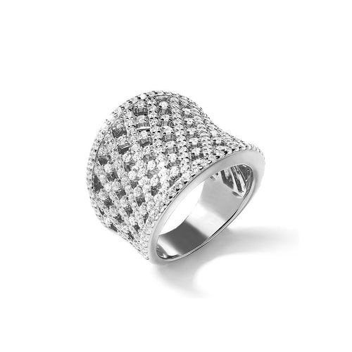 White Lattice Curve Ring ,[product vendor],JewelStreet