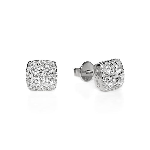 White Square Cluster Studs ,[product vendor],JewelStreet