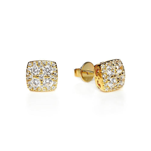 Yellow Square Cluster Studs ,[product vendor],JewelStreet