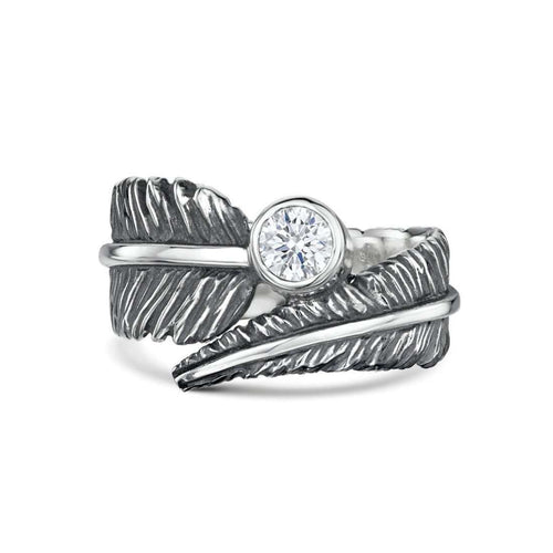 Cubic Zirconia Feather Silver Ring-Becky Rowe-JewelStreet US