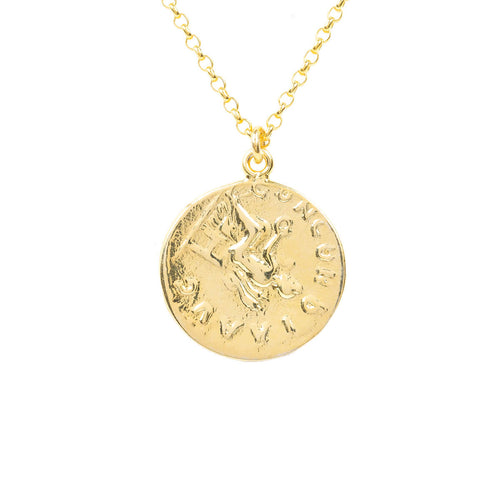 Yellow Gold Plated Matte Roman Coin Pendant Necklace ,[product vendor],JewelStreet
