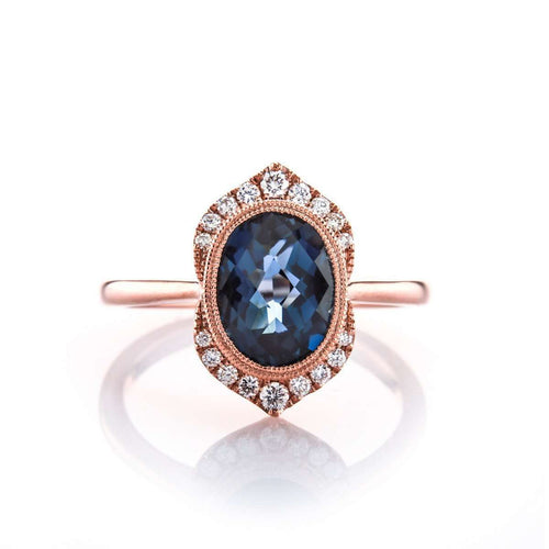 Oval Cut London Blue Topaz Halo Ring-Brian Gavin Diamonds-JewelStreet US