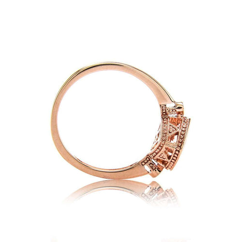 Cushion Checkerboard Morganite Bezel Ring With Diamonds-Brian Gavin Diamonds-JewelStreet US