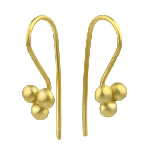 9kt Gold Triple Sulis Bead Earrings-Prism Design-JewelStreet US