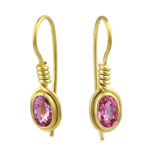 9kt Gold Pink Sapphire Earrings-Prism Design-JewelStreet US