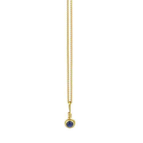 9kt Gold Sapphire Necklace-Prism Design-JewelStreet US