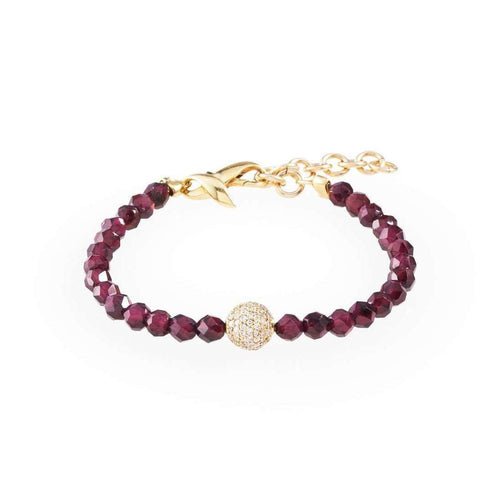 18kt Yellow Gold Diamond Pavé Ball Red Garnet Bracelet-Loushelou-JewelStreet US