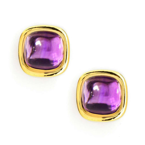18kt Amethyst Sugarloaf Earrings-Syna-JewelStreet US