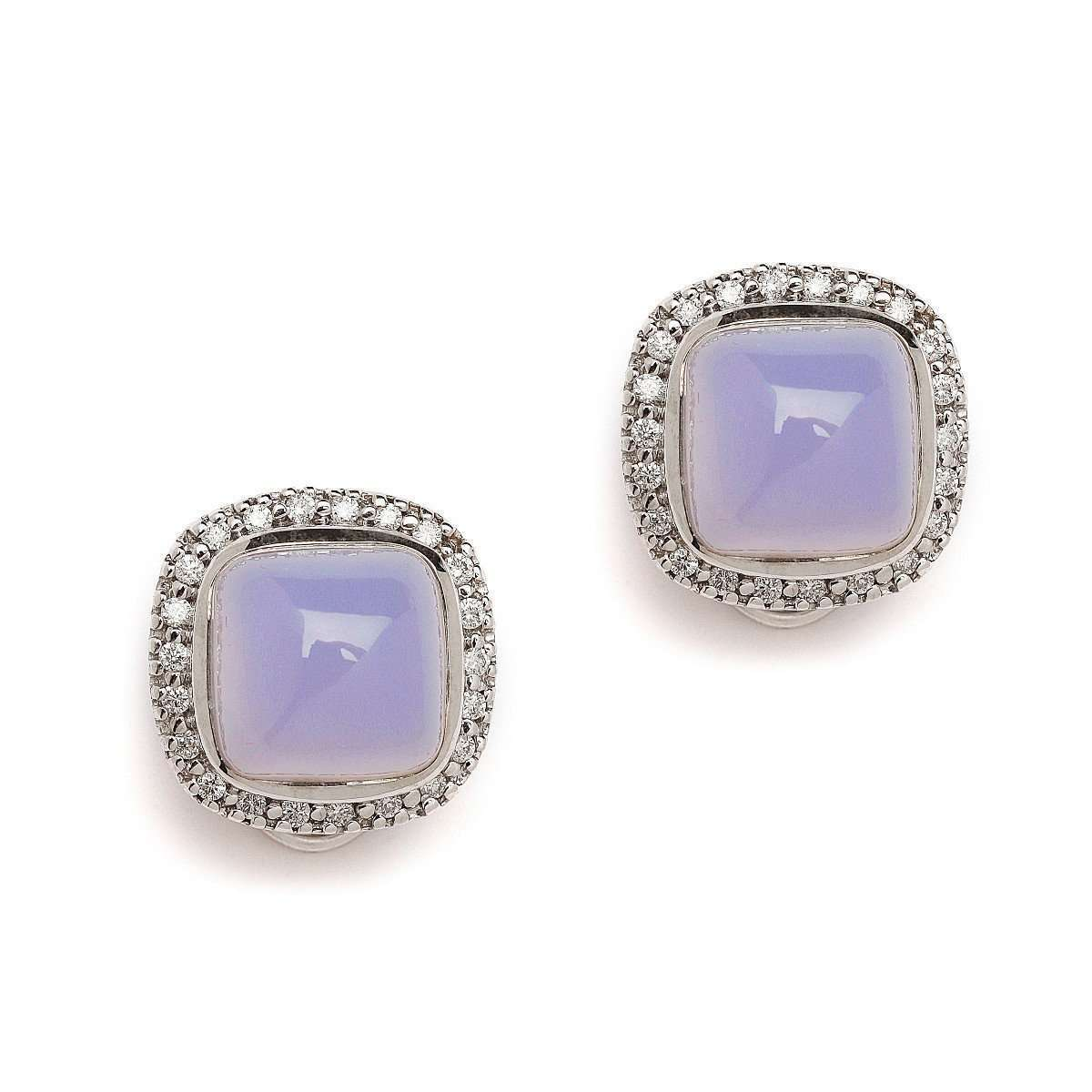 18kt Blue Chalcedony Earrings With Diamonds-Syna-JewelStreet US