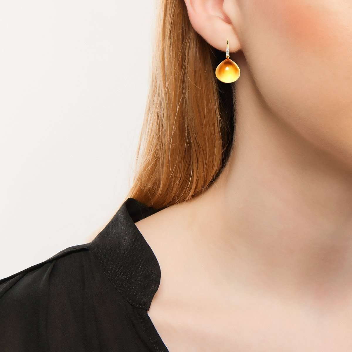 18kt Citrine Earrings With Diamonds-Syna-JewelStreet US