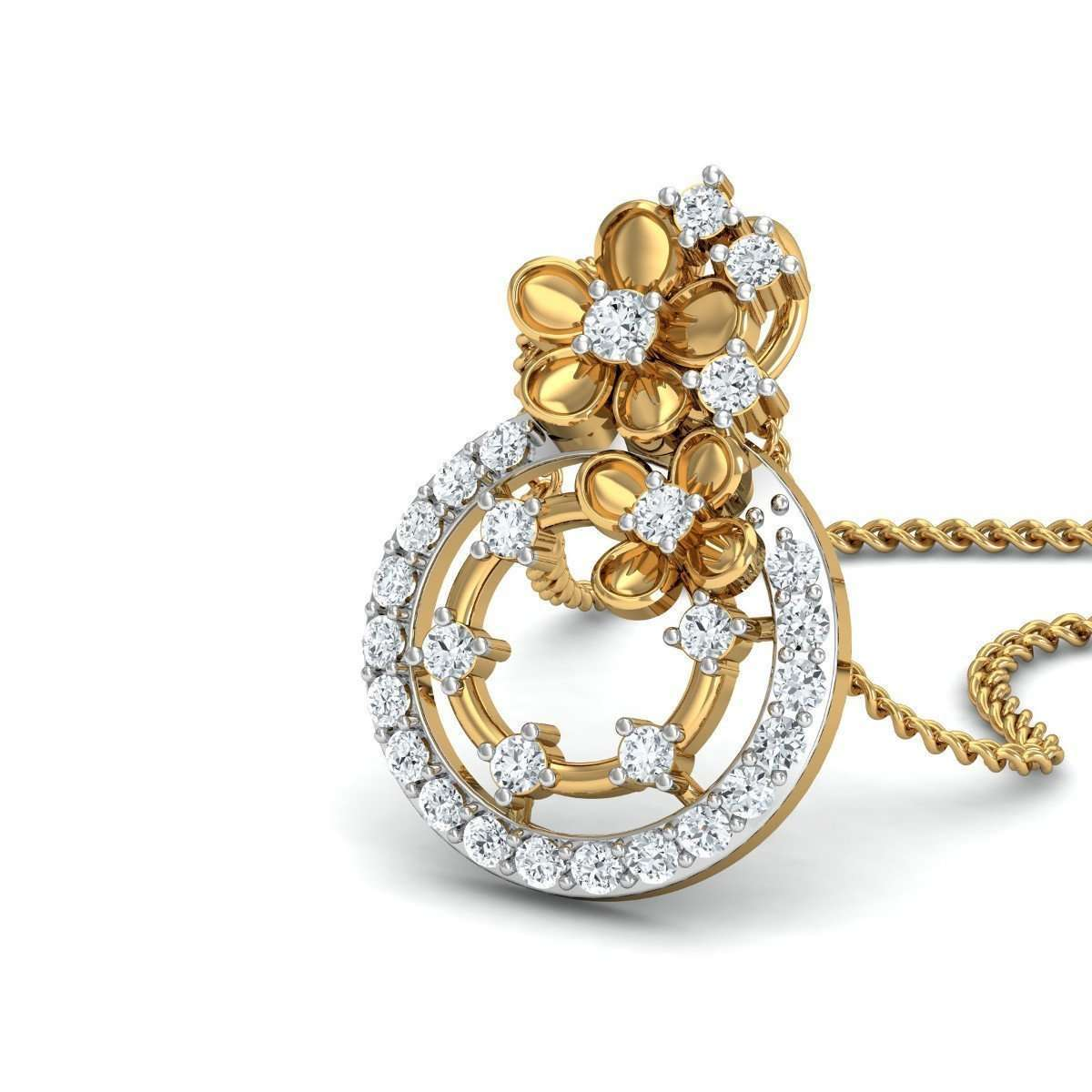 18kt Yellow Gold Efflorescence Diamond Pendant-Diamoire Jewels-JewelStreet US