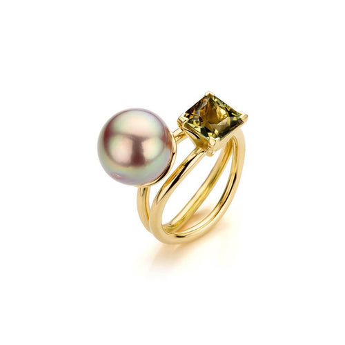 18kt Yellow Gold Coup De Coeur Ring With Tourmaline & Edison Pearl