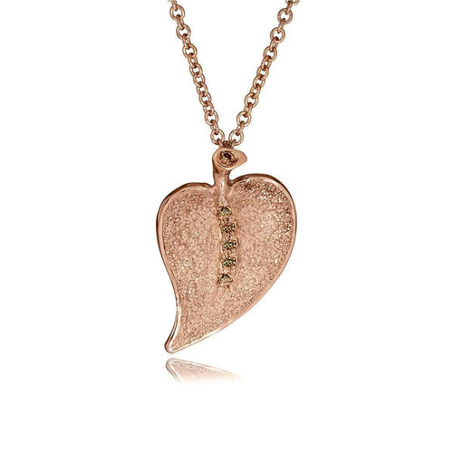Champagne Diamonds And Rose Gold Leaf Pendant-Alex Soldier-JewelStreet US