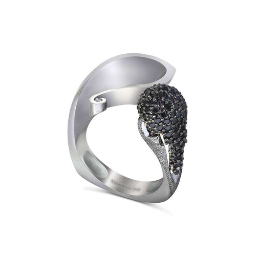 Black Diamonds And White Gold Calla Ring-Alex Soldier-JewelStreet US