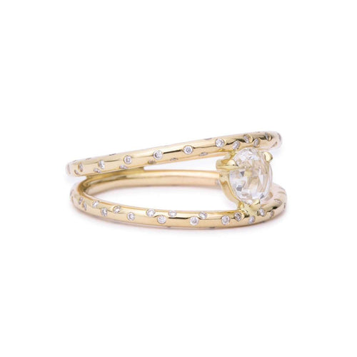 Dew Drop Rosecut Diamond Double Ring-Rosey West-JewelStreet US
