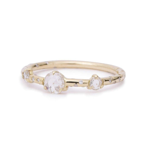 Dew Drop Rosecut Diamond Triplet Ring-Rosey West-JewelStreet US