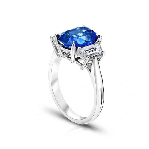 Blue Sapphire Cushion Ring-David Gross-JewelStreet US
