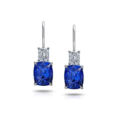 Blue Cushion Sapphire and Diamond Drop Earrings-David Gross-JewelStreet US