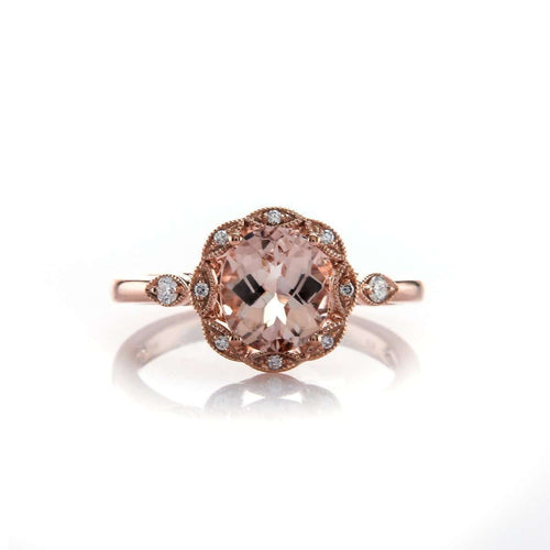 Oval Cut Morganite Halo Engagement Ring With Diamonds-Brian Gavin Diamonds-JewelStreet US