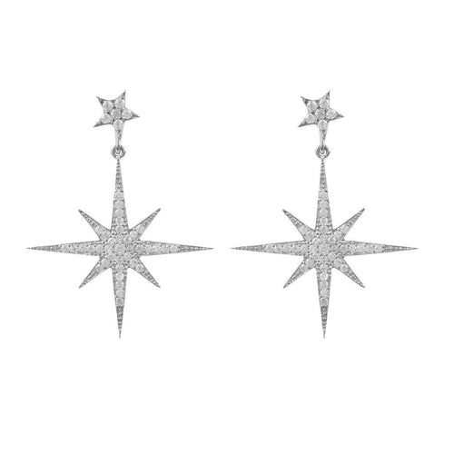 Sterling Silver Petite Star Burst Drop Earrings