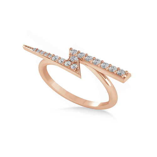 Rose Gold & Diamond Lightening Bolt Fashion Ring | Allurez