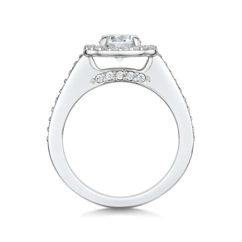 Halo Palladium Diamond Engagement Ring-Becky Rowe-JewelStreet US